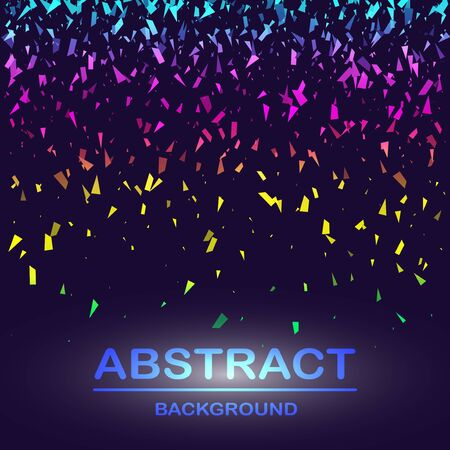 Dynamic abstract scattering particles background made of colored neon specks. Vector illustration. Imagens - 127574817
