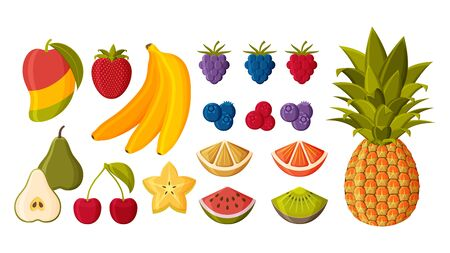 Different fruits and berries set isolated on white background. Vector illustration.