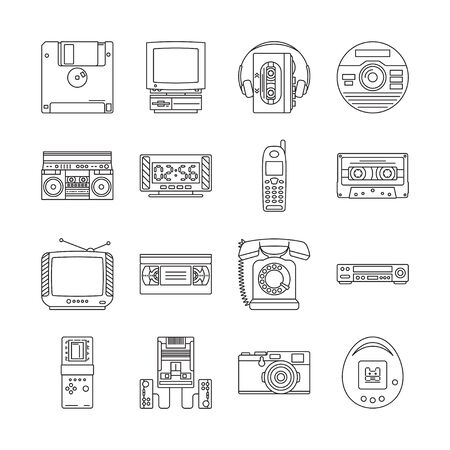 Linear icons set with gadgets of 90s. Retro devices with audio cassette player, tetris, game console, ets. Vector illustration.