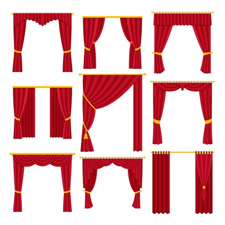 Red curtains set. Vector flat illustration isolated on white. 스톡 콘텐츠 - 127574826