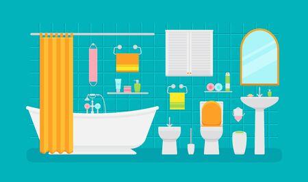 Keramisches Badezimmer-Interieur im flachen Stil. Vektor-Illustration