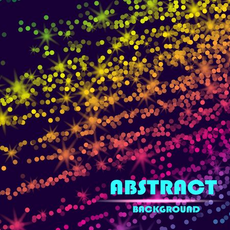 Dynamic abstract scattering particles background made of colored neon specks. Vector illustration. 스톡 콘텐츠 - 127574840