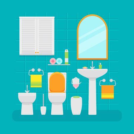 Ceramic toilet interior in flat style. Vector illustration