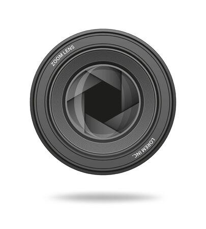 Aperture icon. Camera shutter lens diaphragm row. Vector illustration.