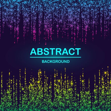 Dynamic abstract scattering particles background made of colored neon specks. Vector illustration. Imagens - 127574875