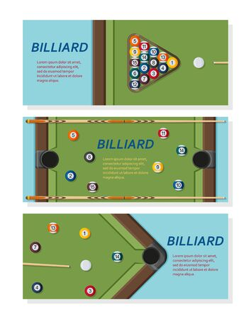 Billiard or snoker background. Good design template for banner, card, flyer. Pool table, balls and cue stick. Vector illustration.
