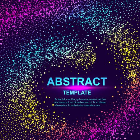 Dynamic abstract scattering particles background made of colored neon specks. Vector illustration. Imagens - 127574881