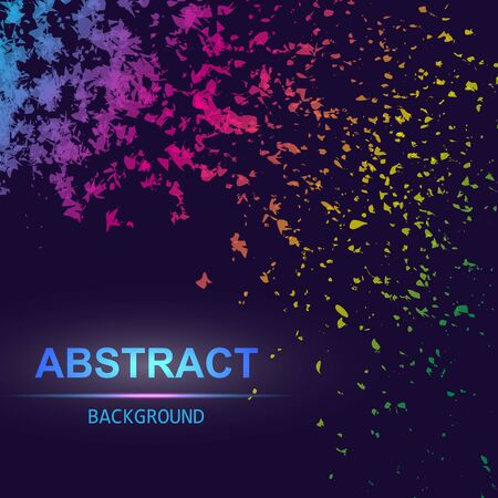 Dynamic abstract scattering particles background made of colored neon specks. Vector illustration. Imagens - 127574884