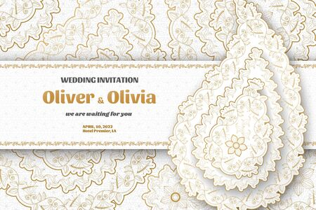Set of wedding invitation templates with floral paisley and mandala