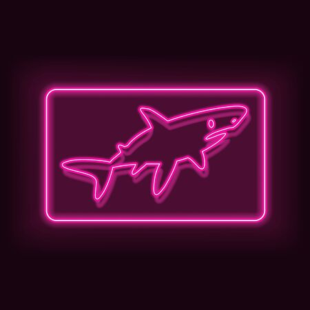 Neon rectangle frame with fish shark. Glowing signboard design. Vector illustration