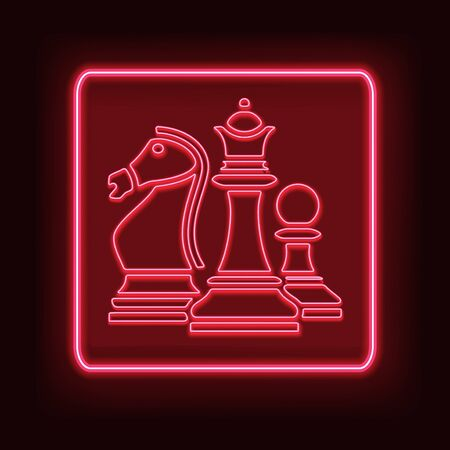 Neon rectangle frame with chess. Glowing signboard design. Vector illustration 스톡 콘텐츠 - 129491944