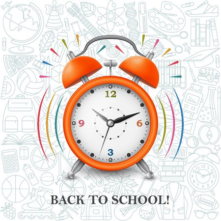 Back to school background with alarm clock and school pattern. Vector illustration.