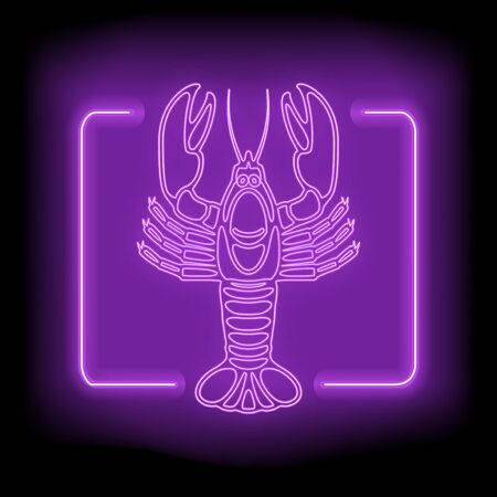Neon rectangle frame with delicious lobster. Glowing signboard design. Vector illustration