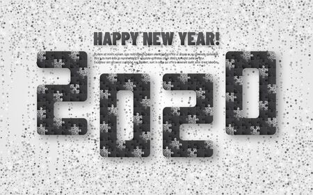 2020 jigsaw puzzle background with many silver glitter and black pieces. Happy New Year card design. Abstract mosaic template. Vector illustration. Archivio Fotografico - 129491984