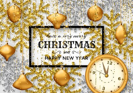 Merry Christmas background with shiny snowflakes, golden balls, clock and gold colored tinsel and streamer. Greeting card and Xmas template. Five minutes to midnight. Vector illustration.