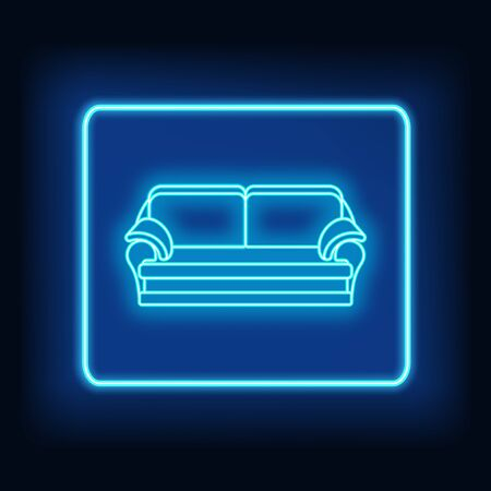Neon rectangle frame with sofa. Glowing signboard design. Vector illustration  イラスト・ベクター素材