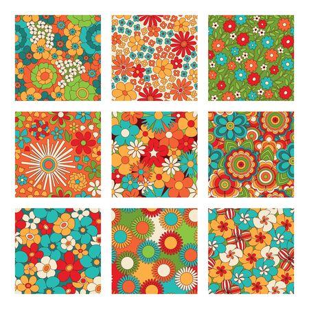 Conjunto de patrones sin fisuras florales vintage. Fondos de estilo psicodélico o hippie. Flores abstractas y colores maravillosos. Ilustración vectorial.