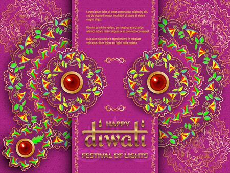 Happy Diwali purple template with floral paisley and mandala. Flower and leaves patterns. Festival of lights. Greeting card with diya. Vector illustration.