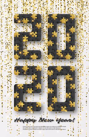 2020 jigsaw puzzle background with many golden glitter and black pieces. Happy New Year card design. Abstract mosaic template. Vector illustration.  イラスト・ベクター素材