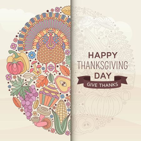 Thanksgiving day greeting card in pastel color. Various elements for design. Cartoon illustration.