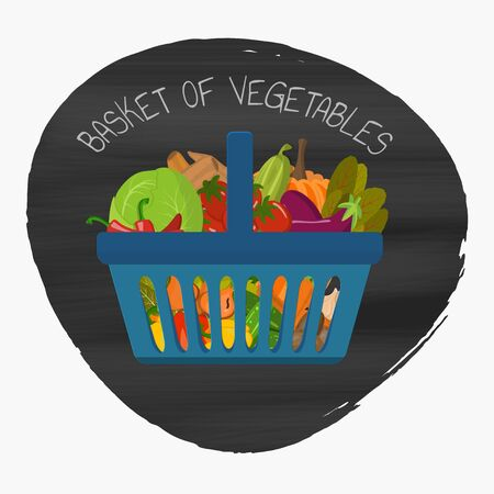Set of grocery food baskets and shopping carts with different goods such as fruits and vegetables. Vegan concept. Vector illustration