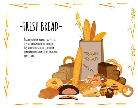 Banner with bakery products. Wheat, rye and whole grain bread. Pretzel and bagel, ciabatta and muffin, croissant and French baguette, long loaf and toasts. Vector illustration. Иллюстрация