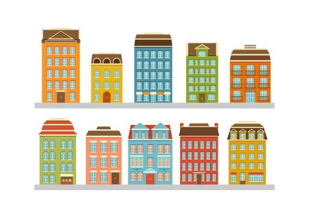 Set of modern multi-storey buildings. Residential houses of the city. Home facade with doors, windows and balcony. Vector illustration.