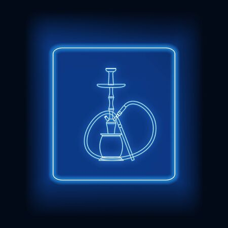 Neon rectangle frame with hookah. Glowing signboard design. Vector illustration