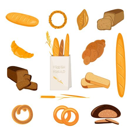 Set of bakery products. Wheat, rye and whole grain bread. Pretzel and bagel, ciabatta and muffin, croissant and French baguette, long loaf and toasts. Vector illustration. Illustration