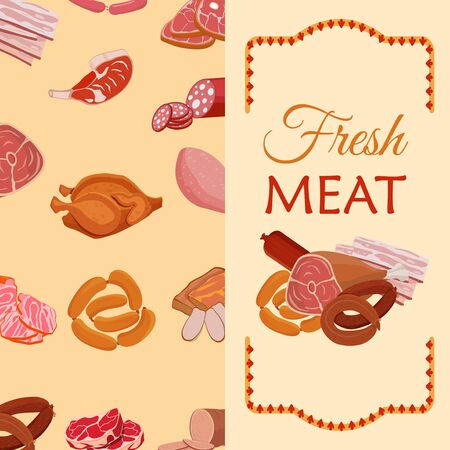 Banner with meat products. Roast chicken and prime rib, sausage, salami and ham, sirlon, bacon, sucuk and smoked meat, turkey and t-bone steak. Vector illustration. Ilustração