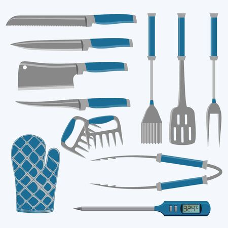 Set of different tools for barbecue party. Meat cutting knife and kitchen tongs, spatula and thermometer. Vector illustration.
