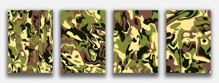 Camouflage textured backgrounds. Abstract painting for wed design or print. Good for cards, covers and business presentations. Vector illustration. Reklamní fotografie - 132841616