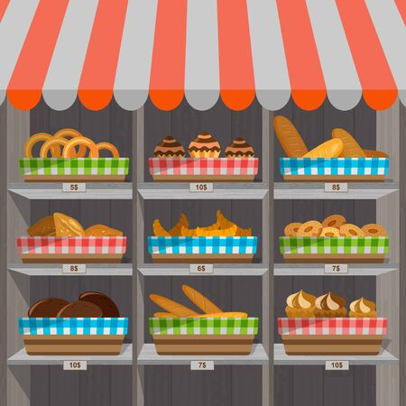 Shopping stands with bakery products in baskets. Supermarket shelves with wheat, rye and whole grain bread. Pretzel and bagel, ciabatta and muffin, croissant and French baguette, long loaf and toasts. Vector illustration.
