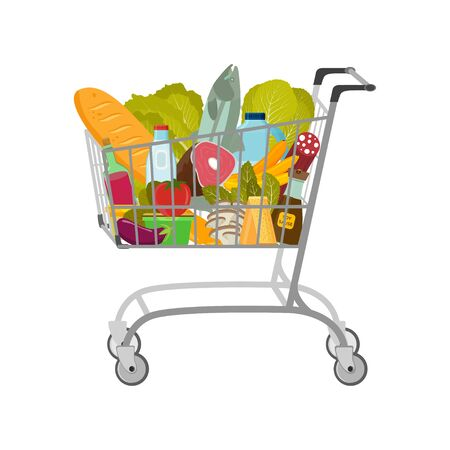 Shopping cart with different goods such as fruits and vegetables, meat and fish, milk and bread. Vector illustration