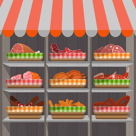 Shopping stands with meat products in baskets. Supermarket shelves with sausages and c chicken drumsticks, ham and bacon. Vector illustration. Ilustração