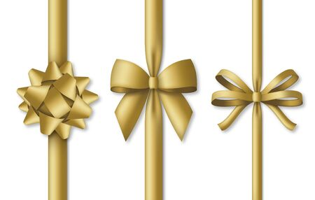 Collection of decorative golden bows with vertical gold colored ribbons Ilustração