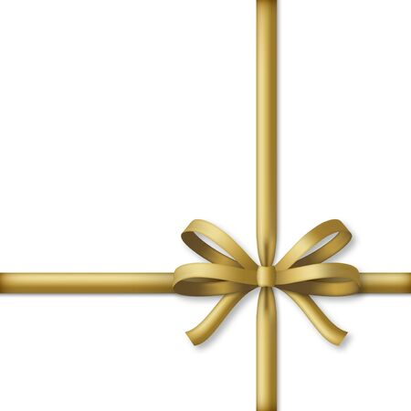Decorative golden bow with gold colored ribbons. Gift box wrapping and holiday decoration. Vector illustration Ilustração