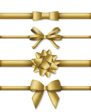 Collection of decorative golden bows with horizontal gold colored ribbons. Vector illustration