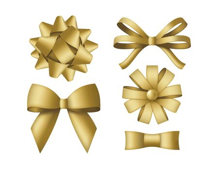 Collection of decorative golden bows. Gift box wrapping and holiday decoration. Vector illustration