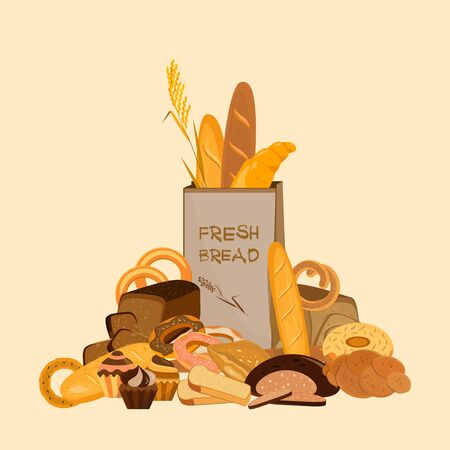 Banner with bakery products. Wheat, rye and whole grain bread. Pretzel and bagel, ciabatta and muffin, croissant and French baguette, long loaf and toasts. Vector illustration. Ilustração