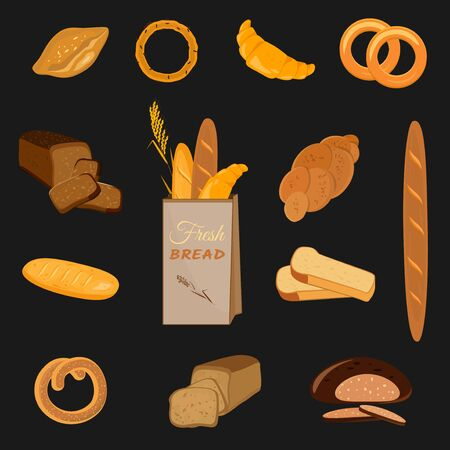 Set of bakery products. Wheat, rye and whole grain bread. Pretzel and bagel, ciabatta and muffin, croissant and French baguette, long loaf and toasts. Vector illustration. Ilustração