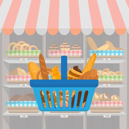 Banner with bakery products in shopping basket. Wheat, rye and whole grain bread. Pretzel and bagel, ciabatta and muffin, croissant and French baguette, long loaf and toasts. Vector illustration.