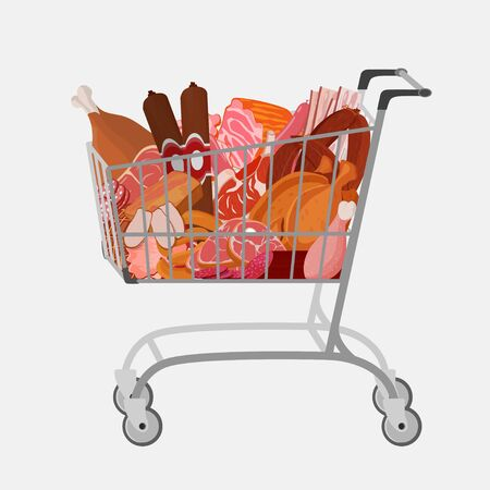 Shopping cart with different meat such as roast chicken and prime rib, sausage, salami and ham, sirlon, bacon, sucuk and smoked meat, turkey and t-bone steak. Vector illustration. Ilustração