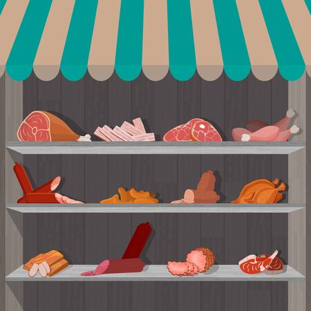 Shopping stands with meat products. Supermarket shelves with sausages and c chicken drumsticks, ham and bacon. Vector illustration.