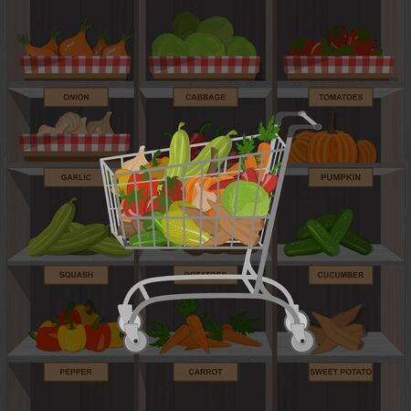 Shopping cart with different goods such as fruits and vegetables. Vegan concept. Vector illustration