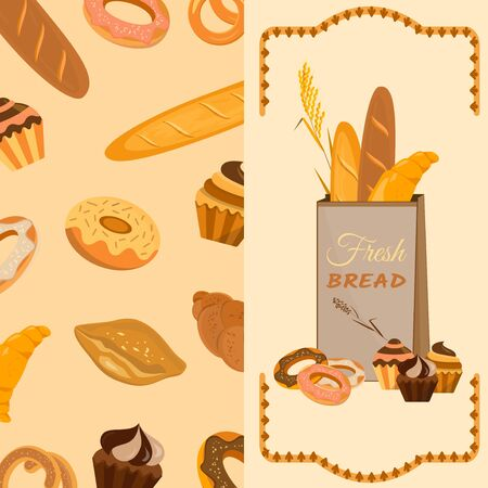Banner with bakery products. Wheat, rye and whole grain bread. Pretzel and bagel, ciabatta and muffin, croissant and French baguette, long loaf and toasts. Vector illustration. 向量圖像