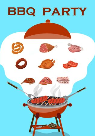 BBQ background with barbecue and grilled meat and sausages. Picnic concept. Vector illustration.