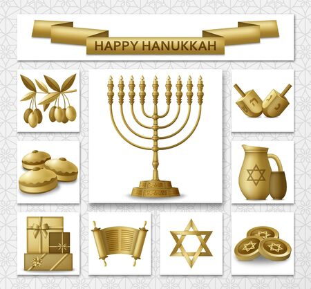 Hanukkah greeting card with Torah, menorah and dreidels. Golden template. Vector illustration. Vettoriali