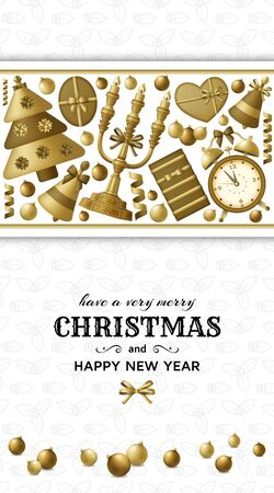 Merry Christmas background and Happy New Year golden balls, gift boxes and alarm clock. Gold colored fir and candelabrum. Greeting card and Xmas template. Five minutes to midnight. Vector illustration. Ilustracja