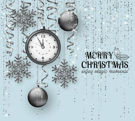 Merry Christmas background with shiny snowflakes, silver balls, clock and grey colored tinsel and streamer. Greeting card and Xmas template. Five minutes to midnight. Vector illustration. Archivio Fotografico - 135503275